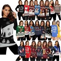 Womens Ladies Christmas Party Xmas Novelty Knitted Tunic Retro Dress Jumper 2019