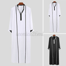Men Muslim Saudi Arab Long Sleeve Casual Baggy Kaftan Full Length Robe Thobe Top