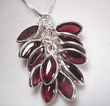 Garnet Cluster Marquise 925 Sterling Silver Pendant Approximately 12-Gem