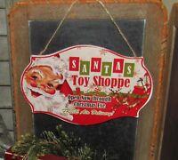 Primitive Antique Vtg Style Christmas Eve Santa Claus Toy Shoppe Hanging Sign