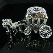 6Pcs Silver Horse Fillable Carriage Baby Shower Favor For Christening Party Deco