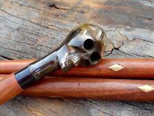 Skull Handle Brass Antique Replica Wooden Walking Stick Cane Replica Gift Item
