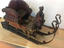 Antique 1900s Scandinavian Hand Carved Painted Wood Figure Iron Sleigh Sled