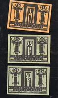 3x Notgeld Kirchengemeinde STOCKELSDORF 50 + 75 Pf + 1 M Motiv Häuser 1921 top