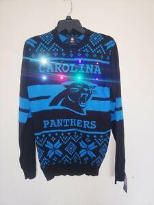 Mens NFL Team Apparel Carolina Panthers Light Up Christmas Sweater New NWT Small