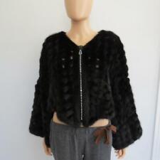 Vinicio Pajaro Black Mink Fur/Organza Crystal Zipper Bolero/Shrug/Coat M