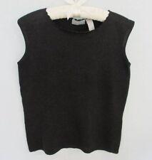 Liz Claiborne black silver metallic silk blend sleeveless pullover sweater*Sz M*