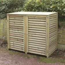 More details for large wooden outdoor garden patio double wheelie bin store storage