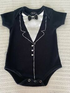 Frenchie Mini Couture Baby Boy 9-12 Months Tuxedo Bodysuit Black