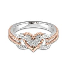 925 Silver 18k Rose Gold Filled Heart Infinity White Sapphire Ring Women Wedding