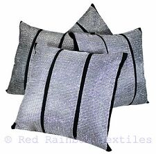 "Set of 4 Triple Diamante Black & Silver Sparkle Bling Velvet 17"" Cushion Covers"