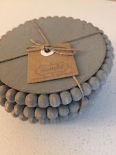 New listing Mud Pie Gray Beaded Wood Coaster Set Of Four