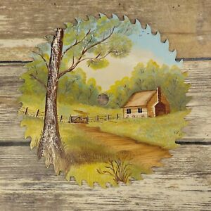 Country Cabin Hand Painted Saw Blade Folk Art Country Farmhouse Decor Signed VTG
