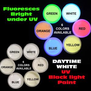 6 INVISIBLE BLACK LIGHT UV Reactive PAINTS 1/2oz-1oz, NEON RAVE FREE UV KEY RING