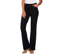 Isaac Mizrahi Live Regular 24/7 Stretch Boot Cut Fly Front Pants Black Size 0
