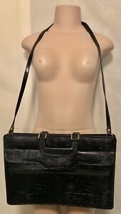 Woman's Handbag Black Patent Croc Shoulder Bag/Briefcase Leather Unbranded EUC
