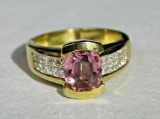 *WOW* 2.19ct Pink Sapphire & Diamond 18k Yellow Gold Ring ~ Sz 7.25 ~ Appr $6950