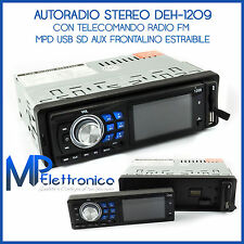 AUTORADIO STEREO AUTO RADIO FRONTALINO ESTRAIBILE FM MPD USB SD AUX DEH-1209