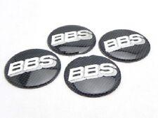 4x Sticker BBS Black Silver Carbon Fiber Style Wheel Center Hub Caps Badge 57mm