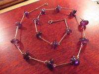 Hübsche 925 Sterling Silber Kette Amethyst Jugendstil Art Deco Lila Violett Top