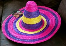 Local Pick up only Adult Mexican straw pink purple Costume Sombrero Hat NOVELTY