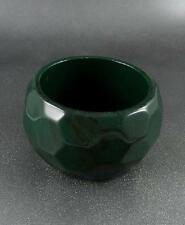 DARK GREEN FACETED LUCITE WIDE CHUNKY BANGLE BRACELET