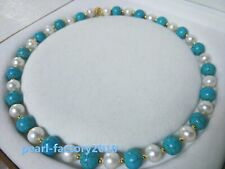 "18"" AAA  turquoise  SOUTH SEA NATURAL White PEARL NECKLACE 14K GOLD  CLASP 02"