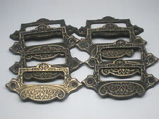 8 Antique Victorian Apothecary File Cabinet Drawer Bin Pull Handle Label Holder