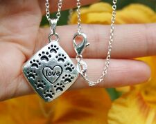 ".925 Sterling Silver NECKLACE ""Love"" Pendant Paw Prints Cat Dog Pet Lover Gift"
