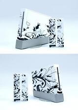 Skin Sticker Cover For NintendoWii Console and 2 Remotes Black & White 057