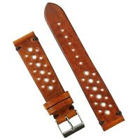 B & R Bands 22mm Vintage Racing Watch Strap Band Cognac Italian Leather
