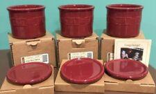 Longaberger Pottery - 1 Pint Crock with Coaster Lid Set - Paprika