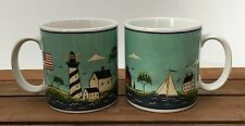 Set Of 2 Sakura Warren Kimble Coastal Breeze 11 Oz Coffee Mugs Cups