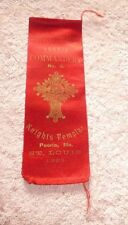 ANTIQUE  RIBBON KNIGHTS TEMPLAR MASONIC ORDER PEORIA ILL NO.3  ST LOUIS 1886
