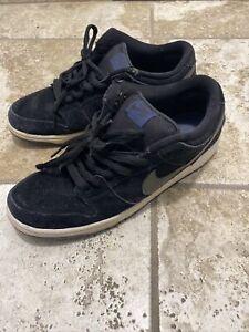 Nike SB Men 11.5 Dunk Low Pro Skateboarding Sneakers Black Suede 304292-025