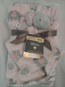 Blankets & Beyond Collection 2pc Gift Set, Pink Elephant **BRAND NEW**