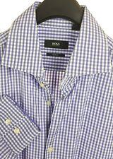 HUGO BOSS Mens Light Purple White Check L/S Dress Shirt 16-34 (41) Slim Fit
