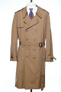 50XL X-Long London Fog Mocha Double Breasted Trench Coat Plush Liner Raincoat