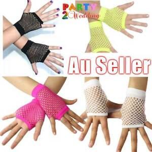 Ladies Fishnet Gloves Short Fingerless Neon Party Dance 70s 80s Womens Glove