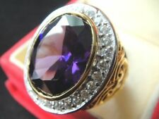 size 15 Deluxe Purple MEN Gold Plated 24K RING Gemstone CZ Solitaire Sapphire