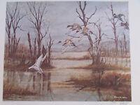 Vintage John Le Roi Sheffer Wildlife Mallards Ducks Signed Wall Art Print 1974