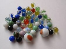 Vintage Group Lot 48 Glass Marbles 2 Shooter Solids Agate Cat Eye Swirl Bicolor