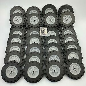 "Knex Wheels Lot of 32 Large Tires 3.5"" with Hubs Pulleys K'nex Parts 3 1/2"""