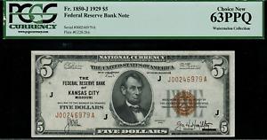 1929 $5 Federal Reserve Bank Note Kansas City - FR.1850-J - Graded PCGS 63PPQ