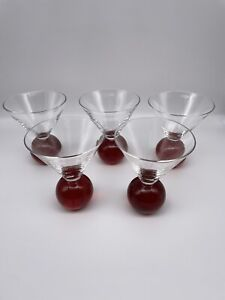 Red Wine Glasses Controlled Bubbles Ball Pedestal Base. Set- 5 Heavy Weight Vtg