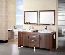 """Mon New S Bathroom vanity 72"""" Double Drop In Sink Set in Toffee Finish L-D380CED"""