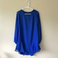 $248 NWT BCBGMAXAZARIA Women's Blue Sapphire Long Sleeve Shift Mini Dress Size S