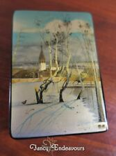 USSR Fedoskino Russian Lacquer Box with Winter Snow Church Scene