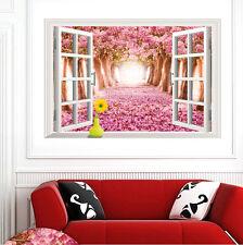 Pink Cherry Blossom 3D Window Wall Sticker Vinyl Decals Mural Art Home Decor lz