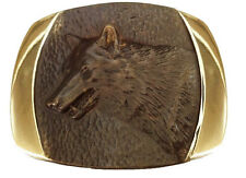 Vtg Solid Bronze Wolf Belt Buckle Animal Alaska Steven L Knight Coyote Western